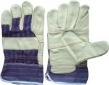 Furniture Leahter Patched Palm Stripe Cotton Back Work Glove-4002