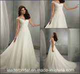 Lace Bridal Ball Gown Cap Sleeves A-Line Wedding Dresses Z1028
