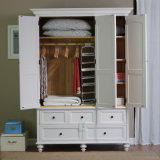 European Style White Paint Wooden Bedroom Wardrobe (GSP9-023)