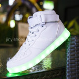 The Big Boys and Girls in White Children Casual Shoes Flash Lighting Luminous