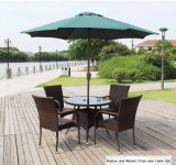 Wicker Chair and Dining Table Set with Sun Umbrella