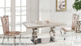 Popular Stainless Steel Frame Modern Glass Top Dining Table Sets for Home Furniture