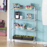 4-Layer Chrome Wire Shelving for Livingroom and Office