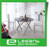Modern Stainless Steel Dining Table with Tempered Glass Top