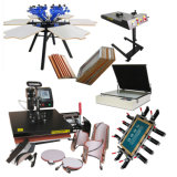 Manual Garment 6-Color Rotary Screen Printing Machine with 6 Worktable