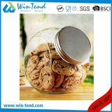 Wholesale Kitchen Storage Glass Jar Canister with Screw Silver Aluminum Lid