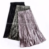 Pleuche Rubber String Waistband Pleated Ankle-Length Skirt of Ladies Dress