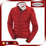 2015 Ladies Full of Red Down Jacket with Printing Piping