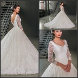 A-Line Lace Bridal Gown Custom 3/4 Sleeves Wedding Gown We12
