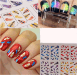 Colorful Feather Pattern Water Transfer Nail Art Stickers Nail Sticker