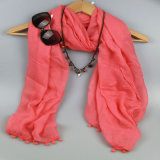 100%Polyester Red Shawl with Tassel Fashion Accessory for Girls Scarf