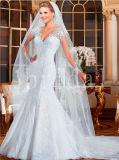 Luxury Mermaid Trumpt Transparent Long Sleeves Lace Pattern Wedding Dress