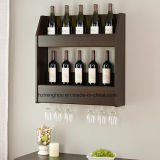 Wood Espresso Floating Wall Wine Bottle Rack Hanging Glass Holder