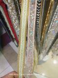 2017 Rhinestones Beaded Chain Iron on Hotfix Crystal Rhinestone Chain Applique Lace Ribbon Trim for Weddingdress (TS-021)