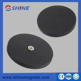 D66mm NdFeB Rubber Coated Pot Magnet with M8 Threaded Hole