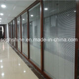 Motorized Aluminium Shutters Between Double Hollow Tempered Glass for Shading or Partition