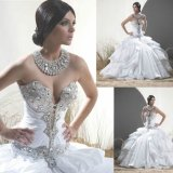 Sweetheart Wedding Dress Crystal Bridal Ball Gown Ruffled Wedding Gown H1527