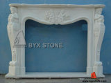 White Marble Stone Indoor Fireplace with Kid Carving