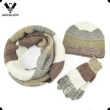 Hot Sale Trendy Unisex Mottled Yarn Knitted Winter Set in Stripe Look