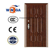 Europ Popular Brown Color Security Steel Metal Door (W-S-123)