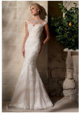 Embroidered Net Lace Crystal Beading Bridal Wedding Dresses (2702)