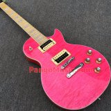 Pango Lp Standard Electric Guitar with Pink Quilted Maple, Zebra Pickups (PLP-027)