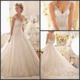 V-Neck Bridal Gowns Sheer Straps A-Line Wedding Dress Wd63