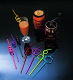 Squiggle Straw with Heart Shapr PVC Plastic Straw