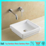 Ceramic Top Square Wash Basin Without Faucet Hole