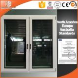 Italy Type Aluminum Clad Solid Wood Casement Windows