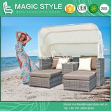 Multi-Functional Patio Daybed with Umbrella Deck 2-Seater Bed Patio Wicker Sun Bed (Magic Style)