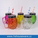 Pineapple Design Colorful Glass Mason Jar, Glass Mason Drinking Jar