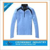 1/3 Zip Blue Long Sleeve Sports Shirt with Logo