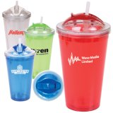 16 Oz Double Wall Acrylic Tumbler with Straw (PM074)