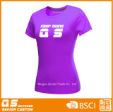 Women′s Sports Running Quick Dry Polyester T-Shirt