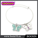 Silver Butterfly Charm Wire Bangle for Girls Wholesale