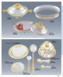 Deluxe Gold and Silver Tableware for Hotel Banquet
