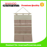 Stripe Canvas Jute Eco Friendly Hanging Wall Storage Organizer