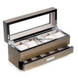 Lacquered Wood and Glass Top 5-Watch Box with Accessory Drawer