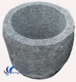 Round Grey Natural Stone Flower Pots
