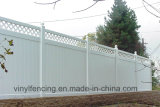 Vinyl Privacy Garden Fence with Top Lattice