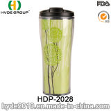 Hand-Held Double Wall Travel Coffee Mug with Inserted Paper (HDP-2028)