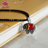 Charming Created Red Sapphire and Black Spinel Necklace Gus-Fsnp-010