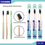 Eco-Friendly Biodegradable Wheat Straw Adult Toothbrush with Activated Carbon Bristles 168