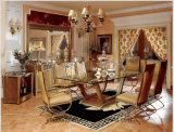 0016 Golden Color Classical Royal Style Dining Table and Chairs