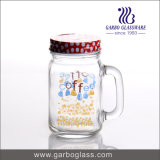 500ml Mason Jar Beverage Juice Glasswith Handle Customized Logo for Surpermarket
