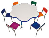 Children Table with Chairs Colorful Flower Shape Study Table