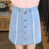 Light Blue Broken Washing Skirt with Five Buttons for Lady (HDLJ0043-17)