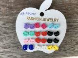 Lovely Set Small Multi-Colour Cat′s Headearrings Fashion Jewelry