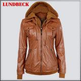Winter Outer Wear PU Jacket for Women in Leisure Style